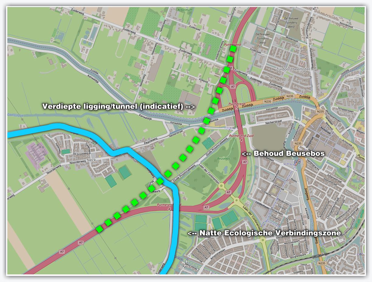Het mogelijke nieuwe traject van de A7.